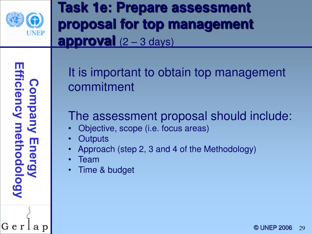 Task 1e: Prepare assessment proposal for top management approval