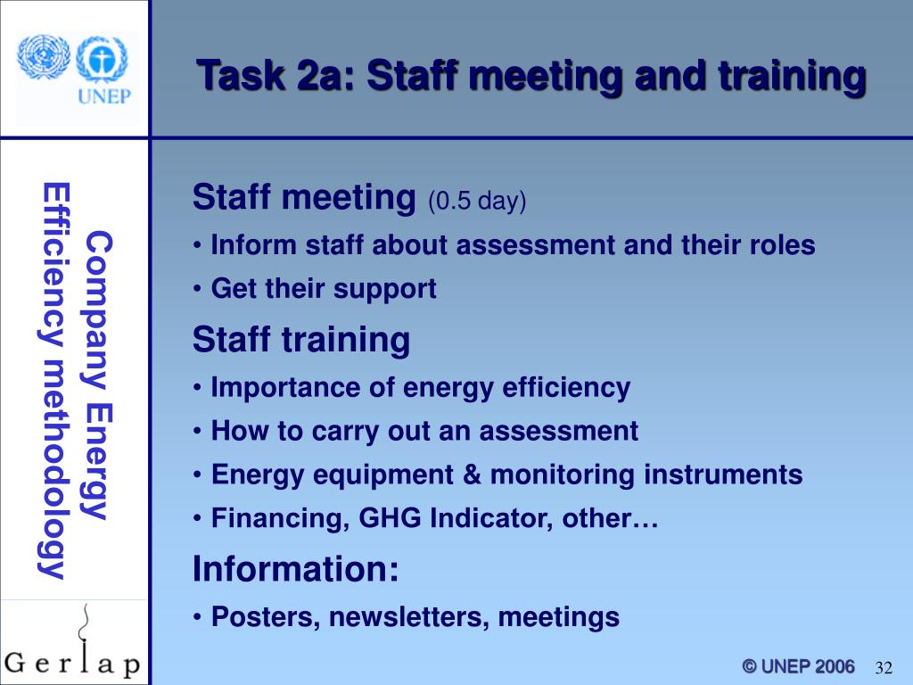 Task 2a: Staff meeting and training
