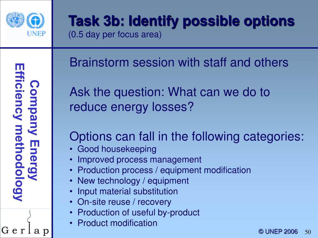 Task 3b: Identify possible options