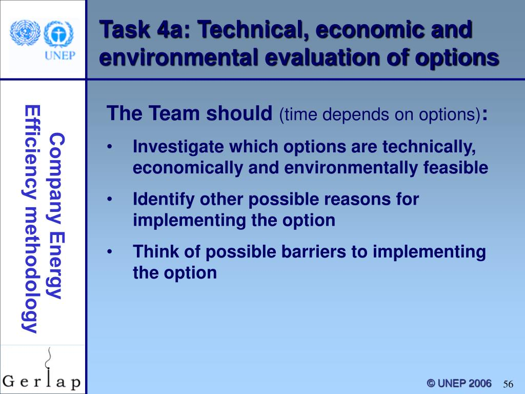 Task 4a: Technical, economic and environmental evaluation of options