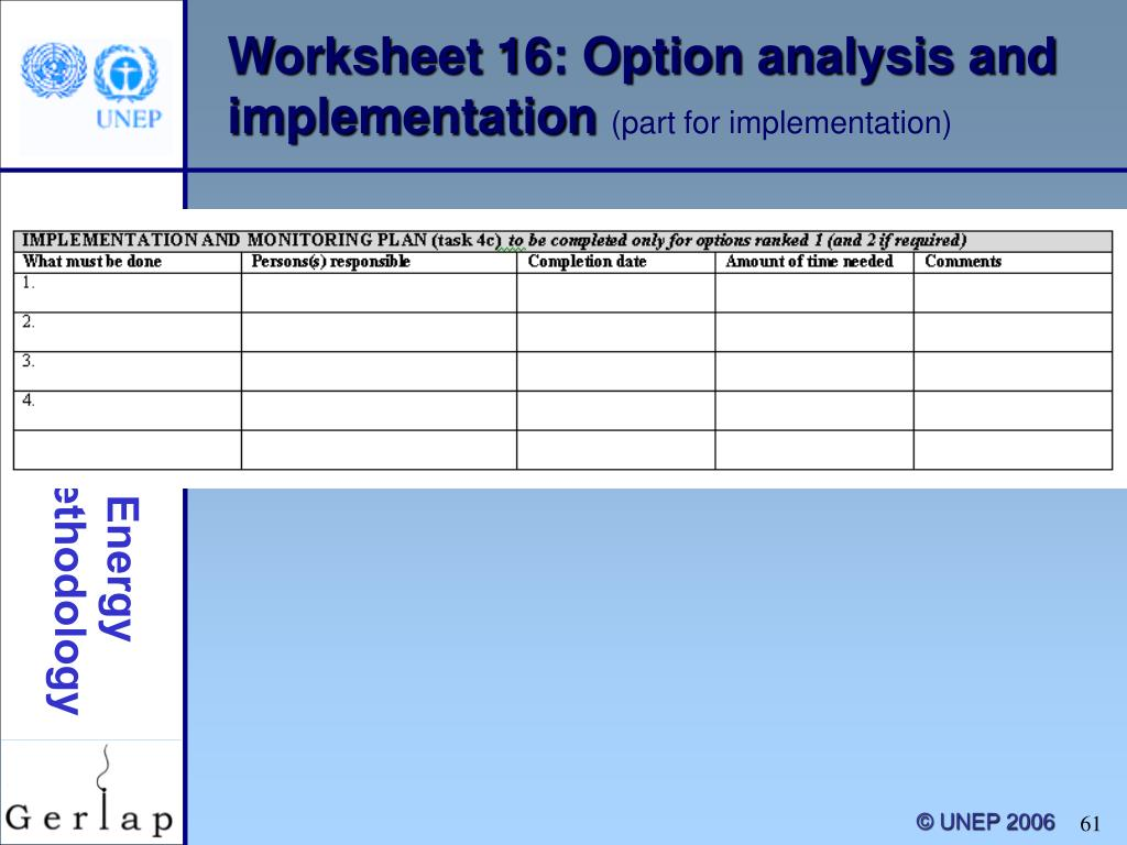 Worksheet 16: Option analysis and implementation