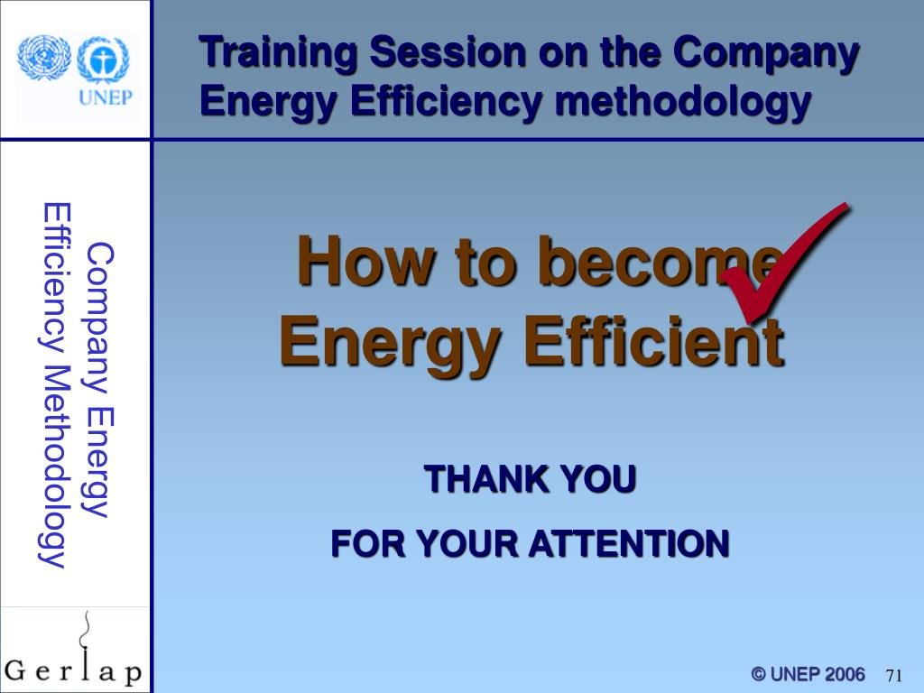 Training Session on the Company Energy Efficiency methodology