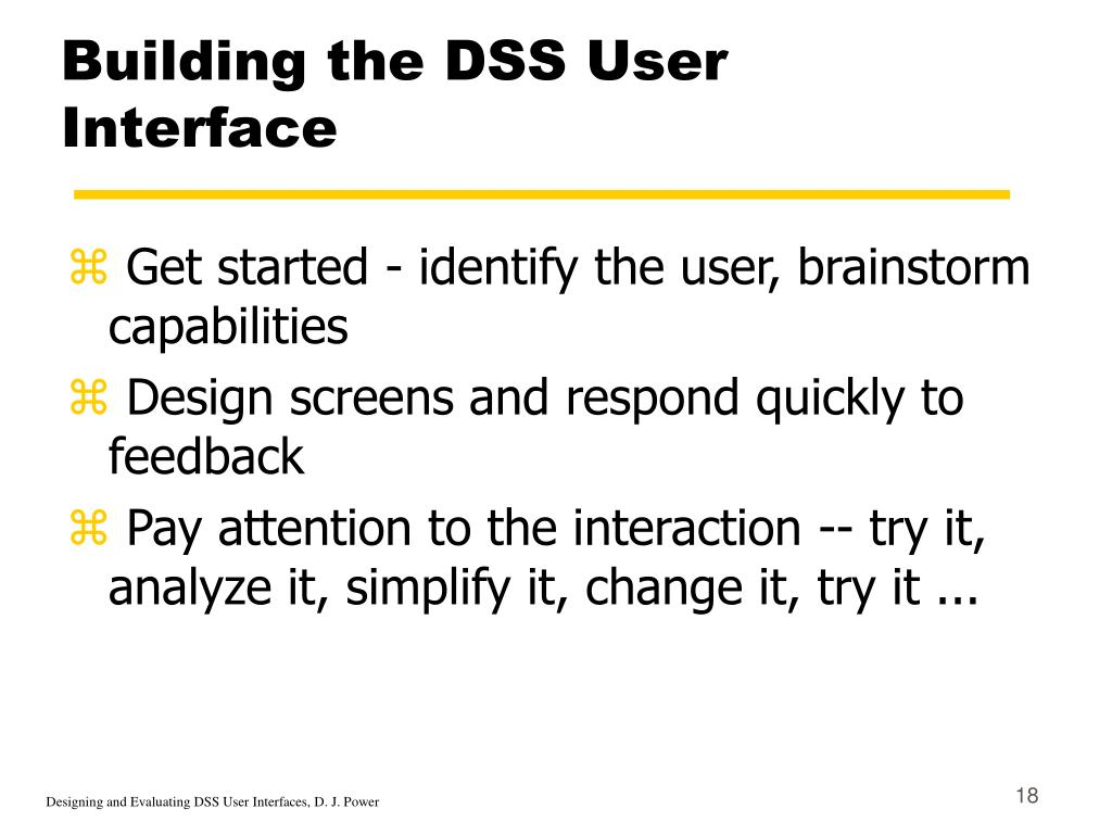 Building the DSS User Interface