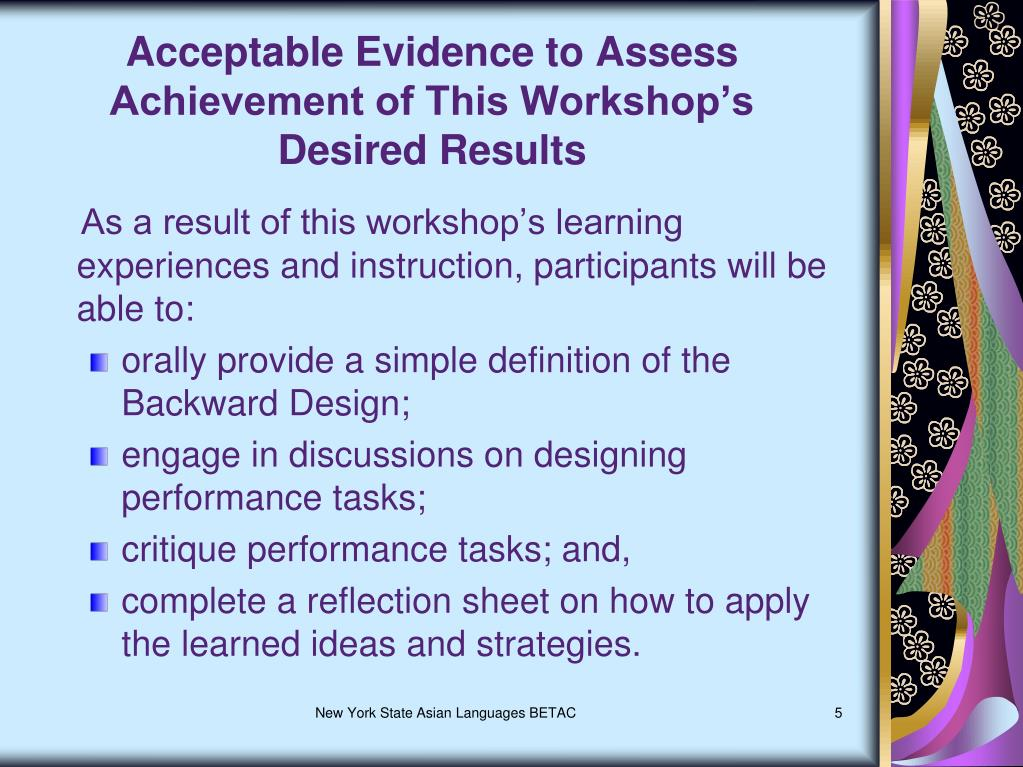 Acceptable Evidence to Assess Achievement of This Workshop's      Desired Results