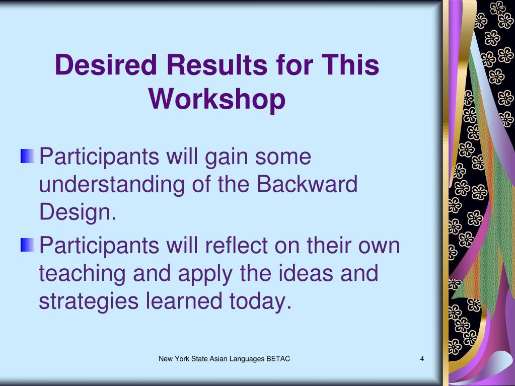 Desired Results for This Workshop