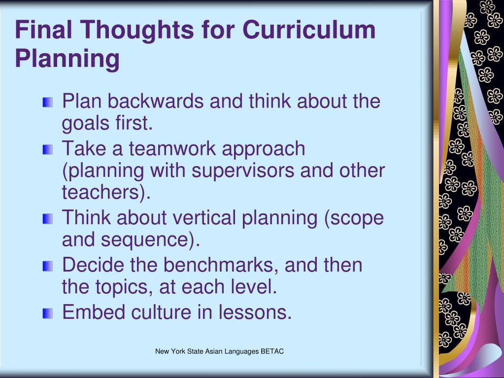 Final Thoughts for Curriculum Planning