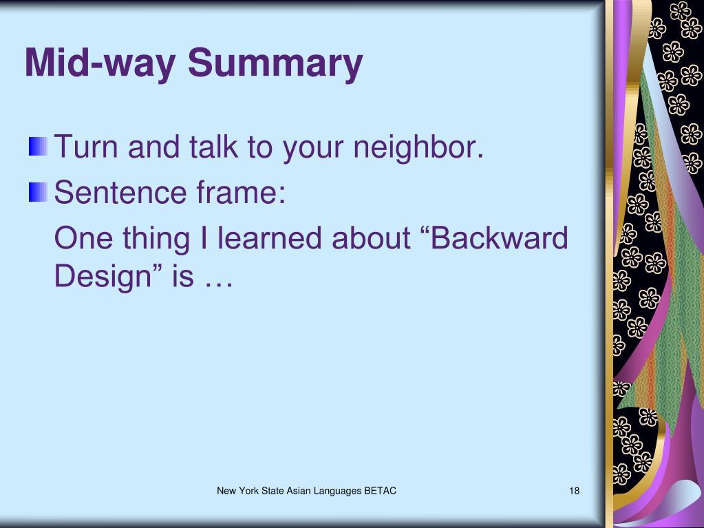 Mid-way Summary