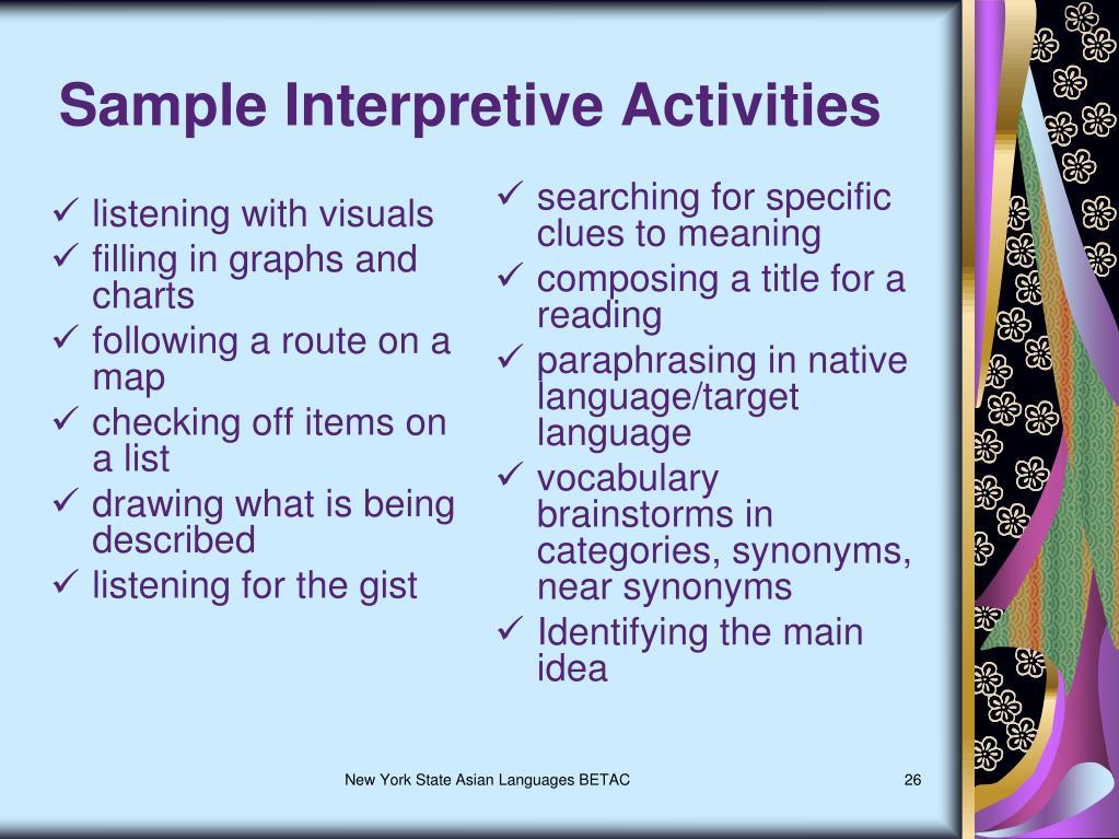 Sample Interpretive Activities