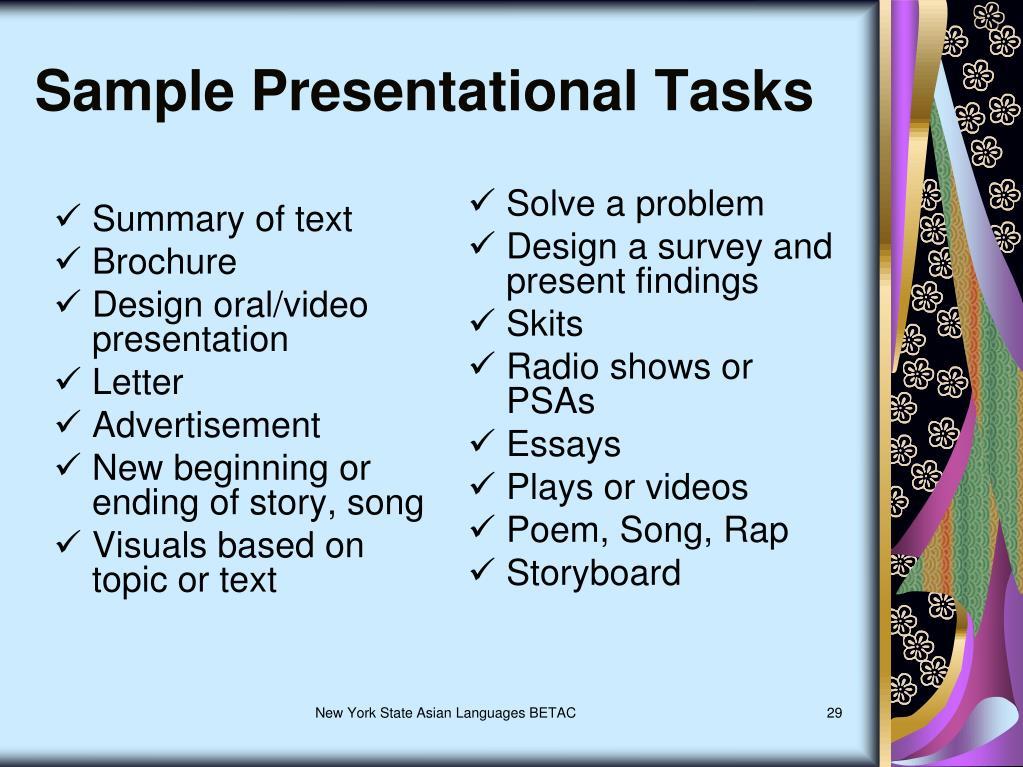 Sample Presentational Tasks