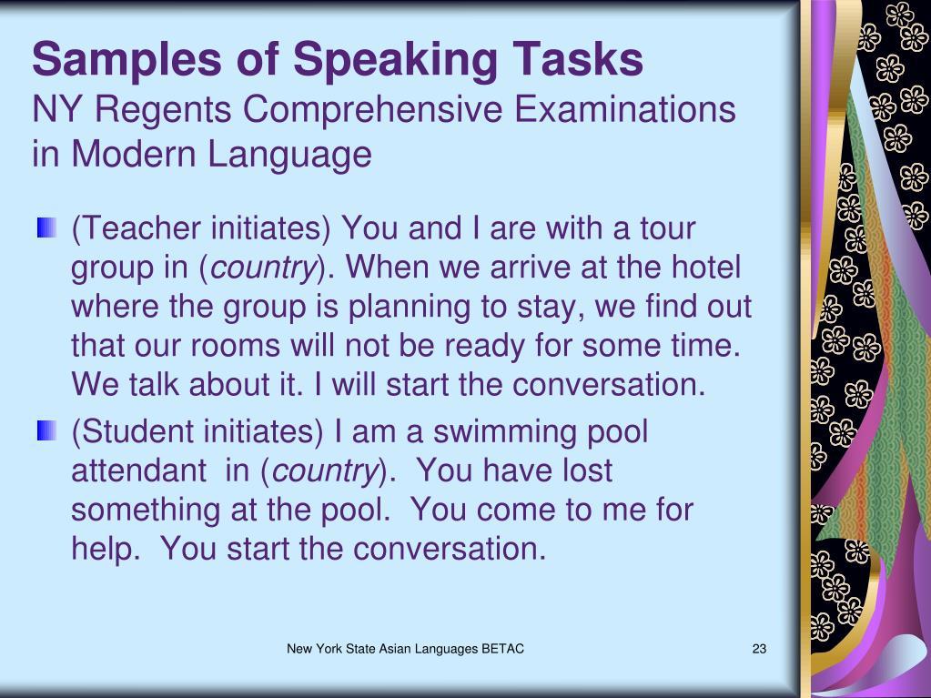 Samples of Speaking Tasks