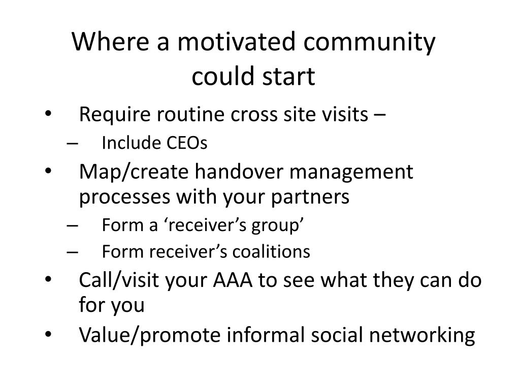 Where a motivated community could start