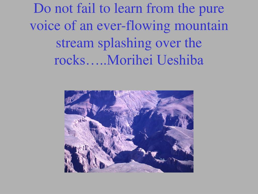 Do not fail to learn from the pure voice of an ever-flowing mountain stream splashing over the rocks…..Morihei Ueshiba