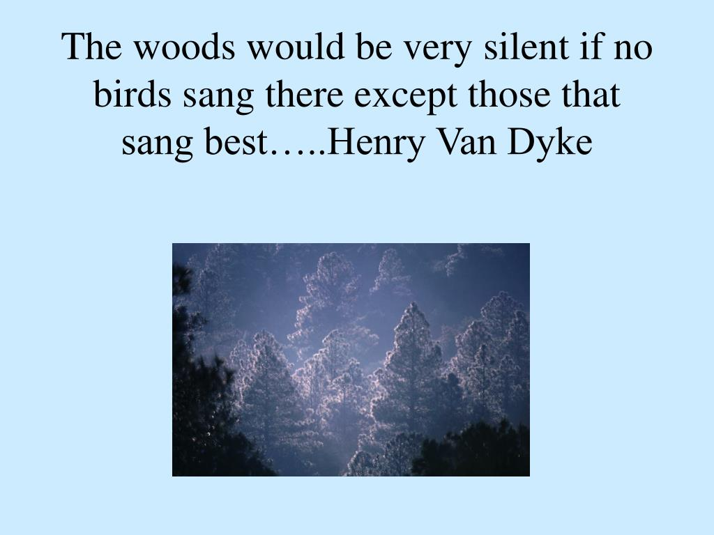 The woods would be very silent if no birds sang there except those that sang best…..Henry Van Dyke