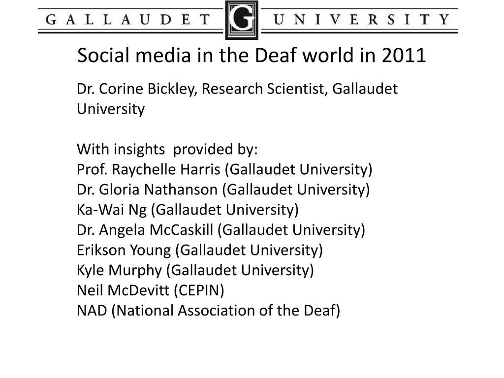 social media in the deaf world in 2011 l.