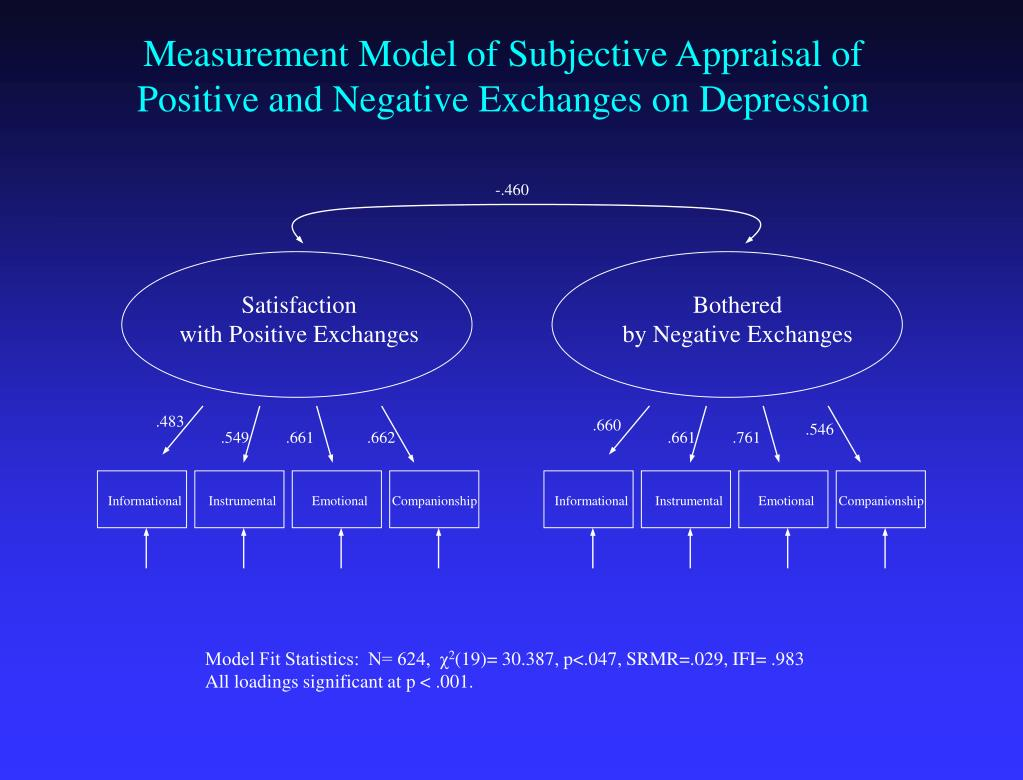 Measurement Model of Subjective Appraisal of Positive and Negative Exchanges on Depression