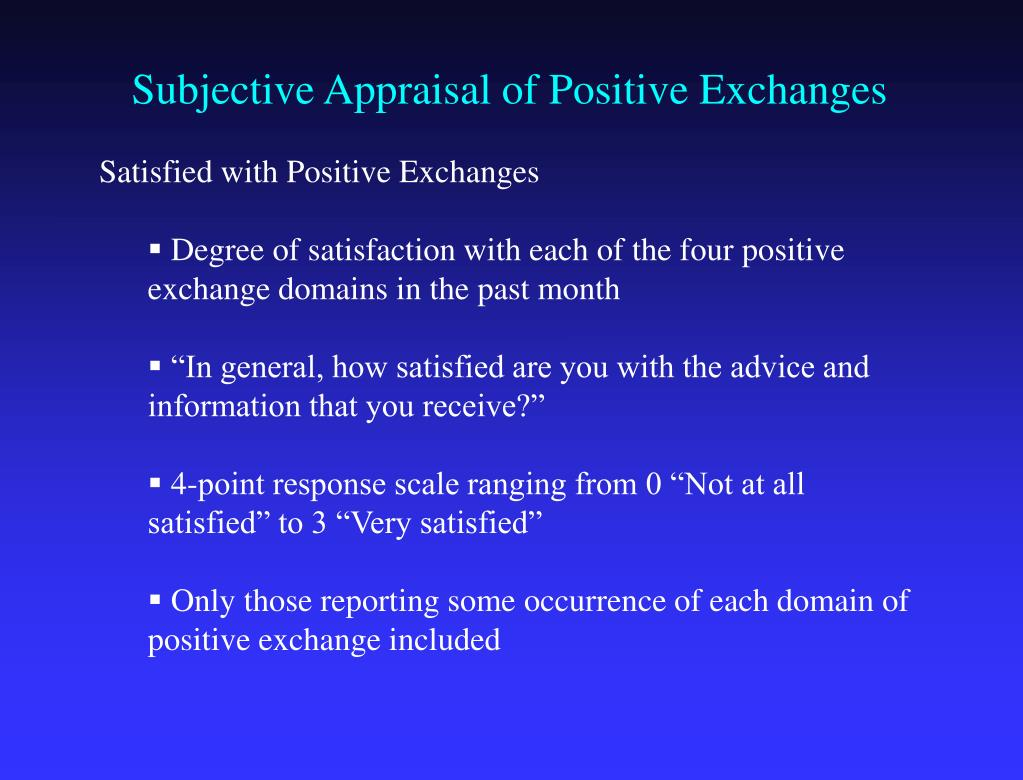 Subjective Appraisal of Positive Exchanges