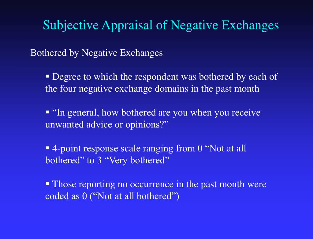 Subjective Appraisal of Negative Exchanges