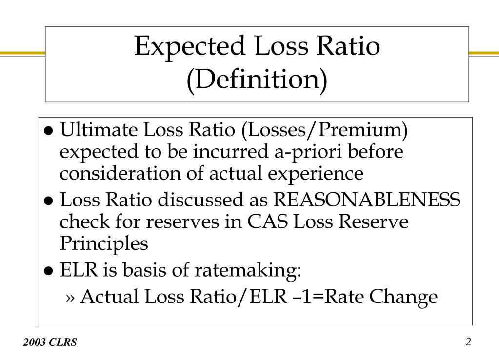 Ultimate Loss Ratio (Losses/Premium) expected to be incurred a-priori before consideration of actual experience