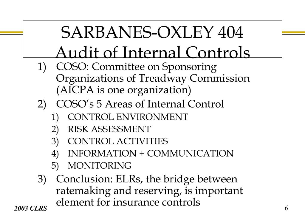 COSO: Committee on Sponsoring Organizations of Treadway Commission (AICPA is one organization)