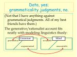 data yes grammaticality judgments no