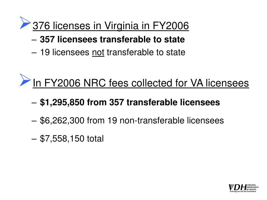 376 licenses in Virginia in FY2006
