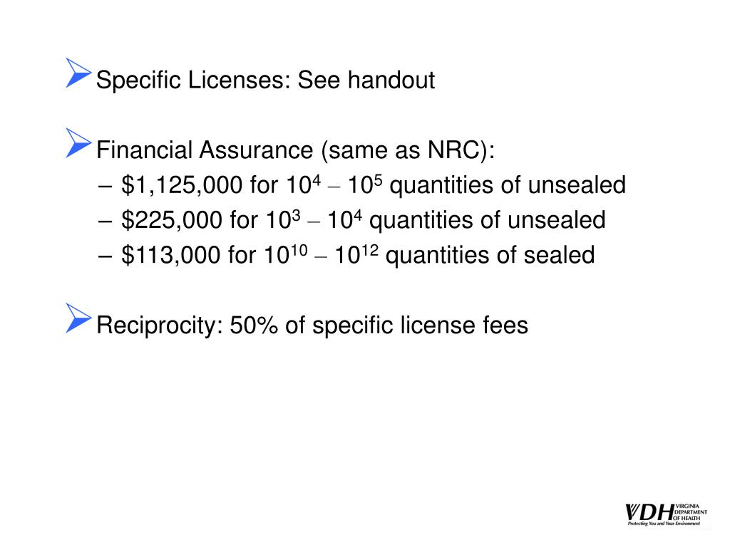 Specific Licenses: See handout
