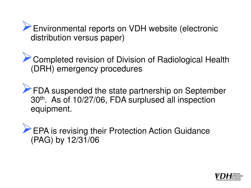 Environmental reports on VDH website (electronic distribution versus paper)