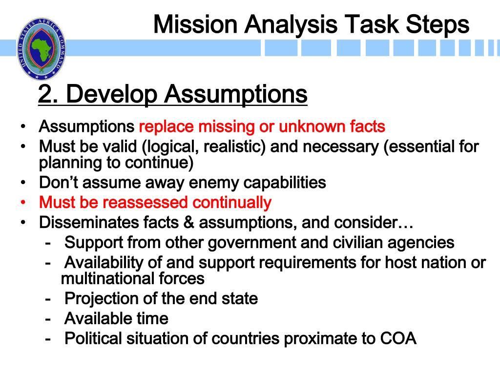 2. Develop Assumptions