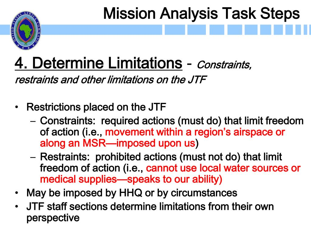 Mission Analysis Task Steps