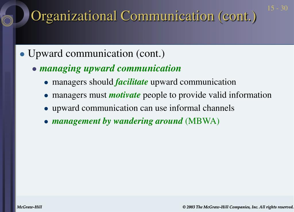 Organizational Communication (cont.)