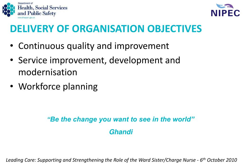 DELIVERY OF ORGANISATION OBJECTIVES