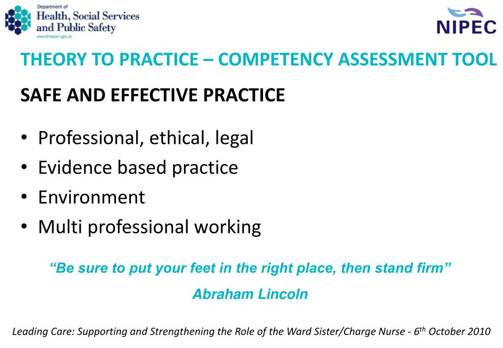 THEORY TO PRACTICE – COMPETENCY ASSESSMENT TOOL