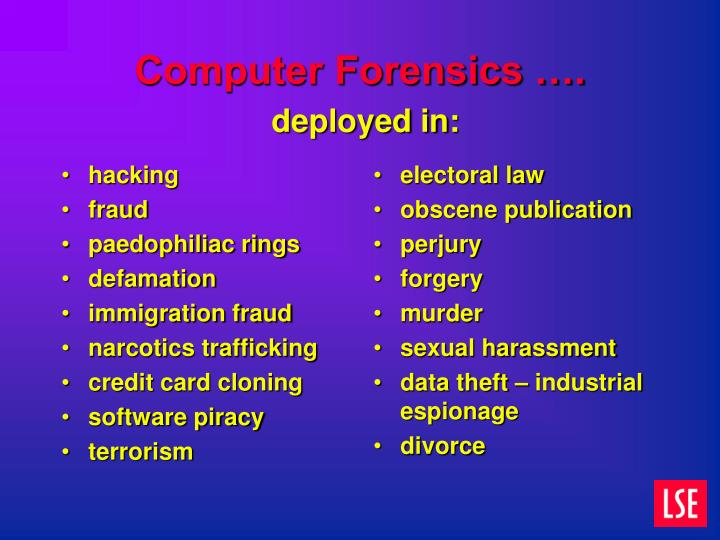 Computer forensics deployed in