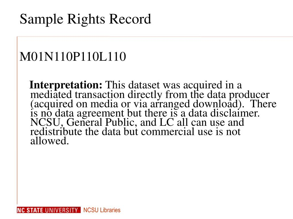 Sample Rights Record