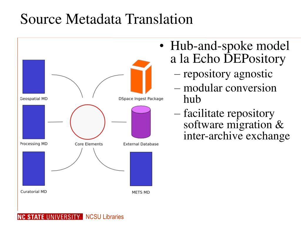 Source Metadata Translation
