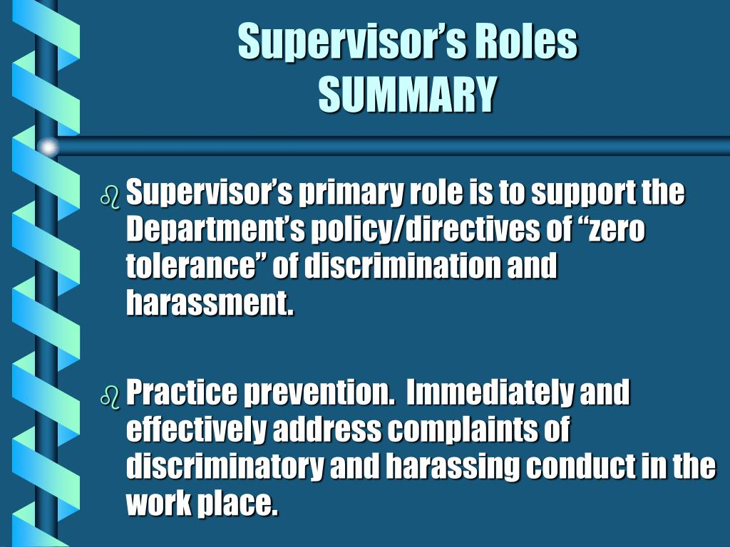 Supervisor's Roles