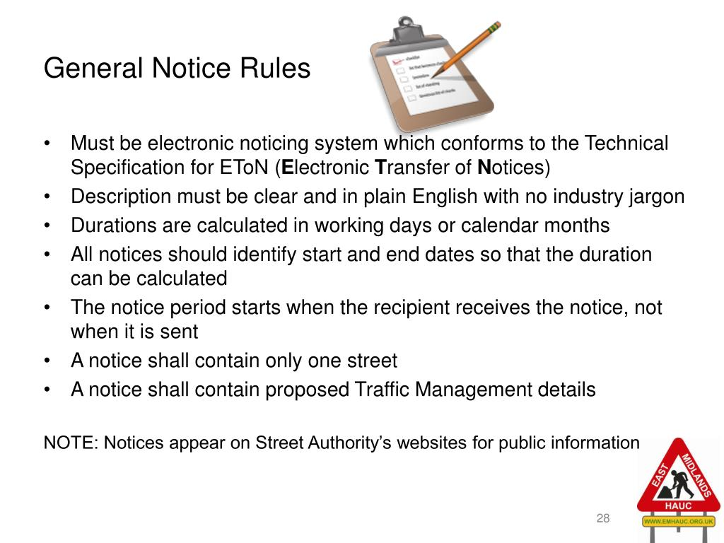 General Notice Rules