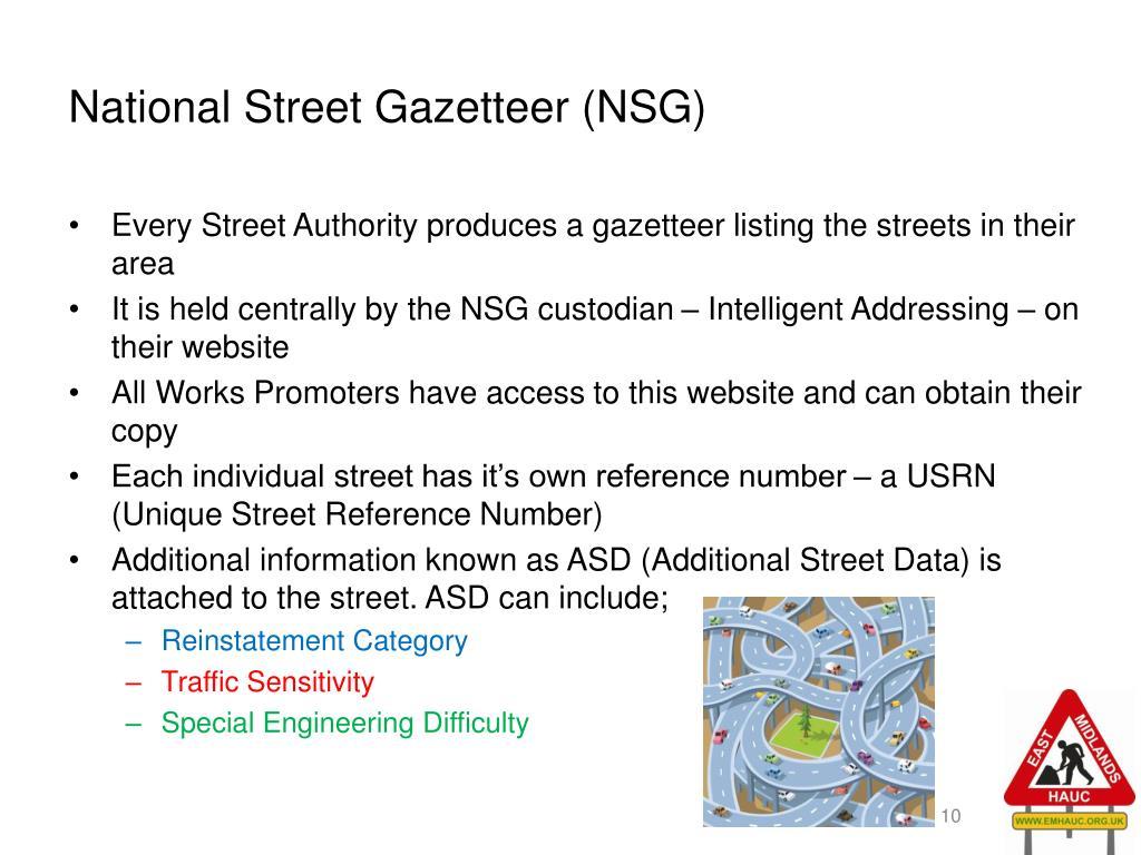 National Street Gazetteer (NSG)