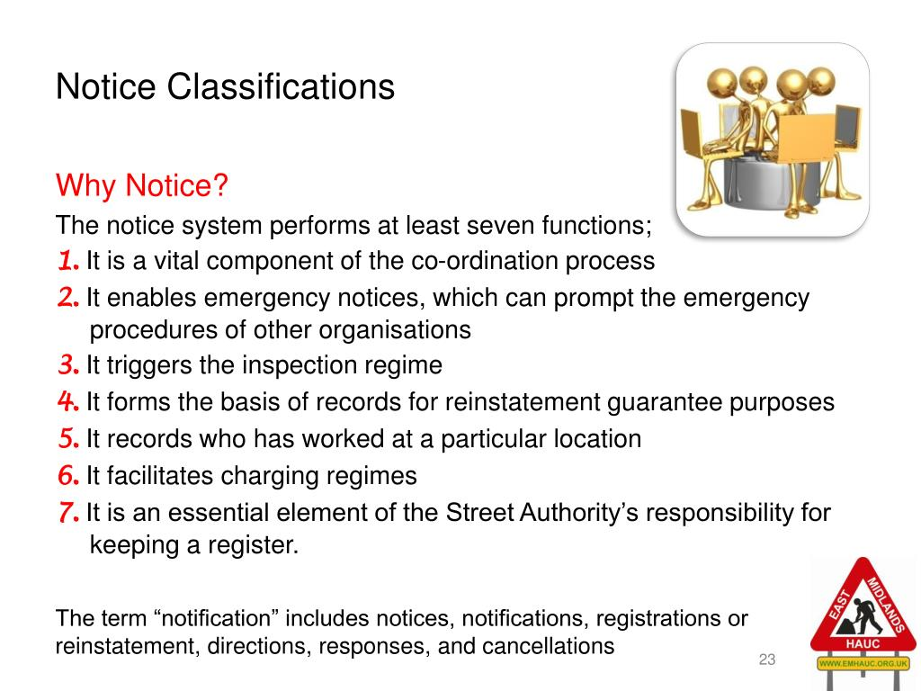Notice Classifications