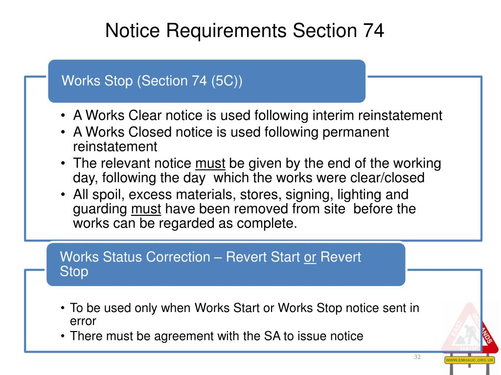 Notice Requirements Section 74