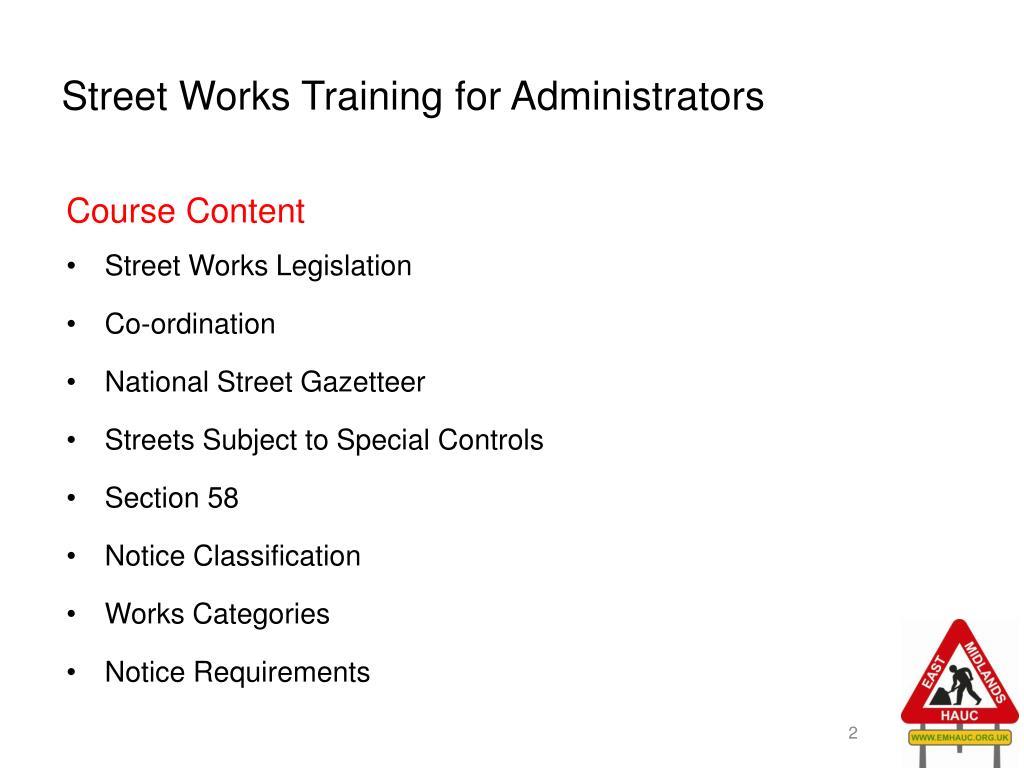 Street Works Training for Administrators