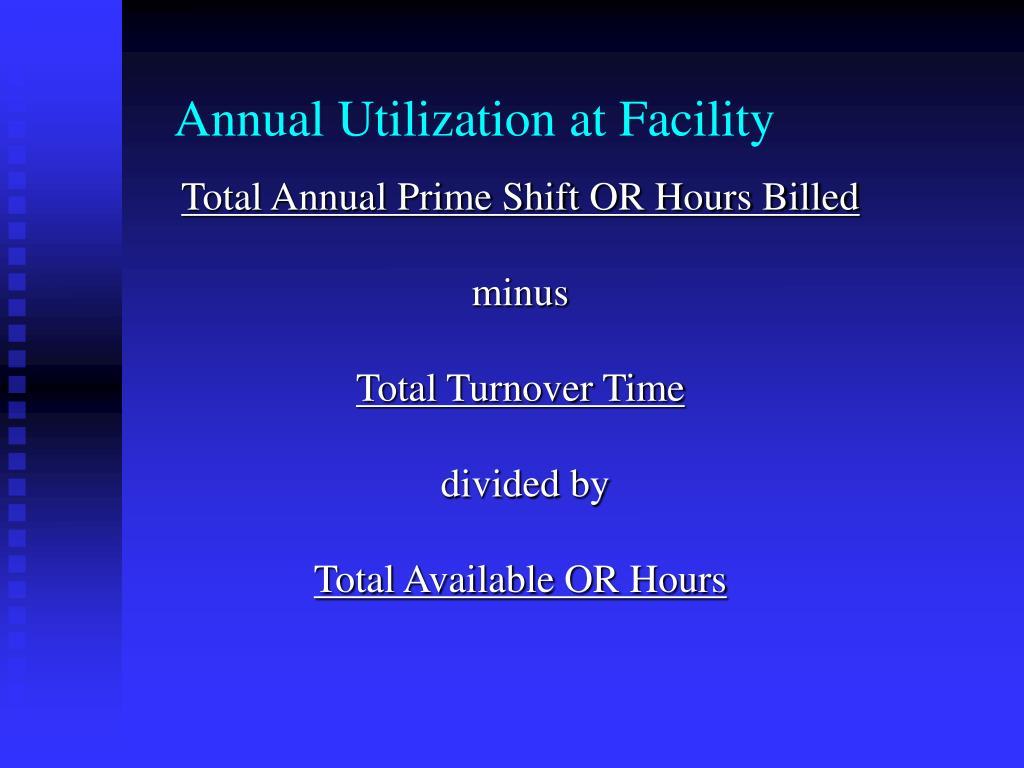 Annual Utilization at Facility