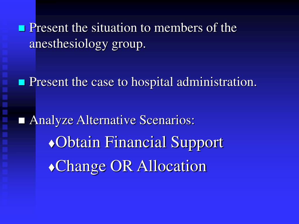 Present the situation to members of the anesthesiology group.