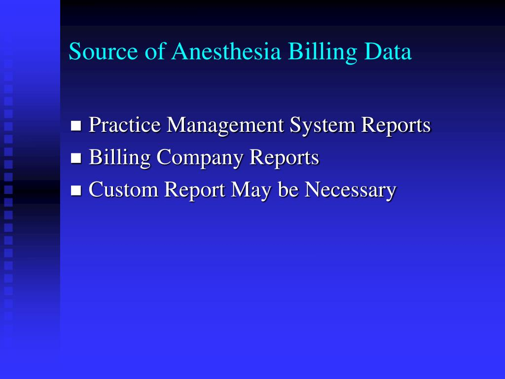 Source of Anesthesia Billing Data