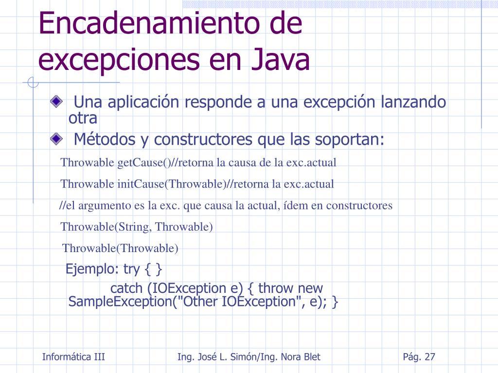 Encadenamiento de excepciones en Java