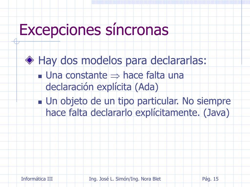 Excepciones síncronas