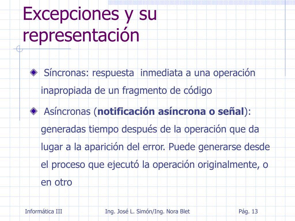 Excepciones y su representación