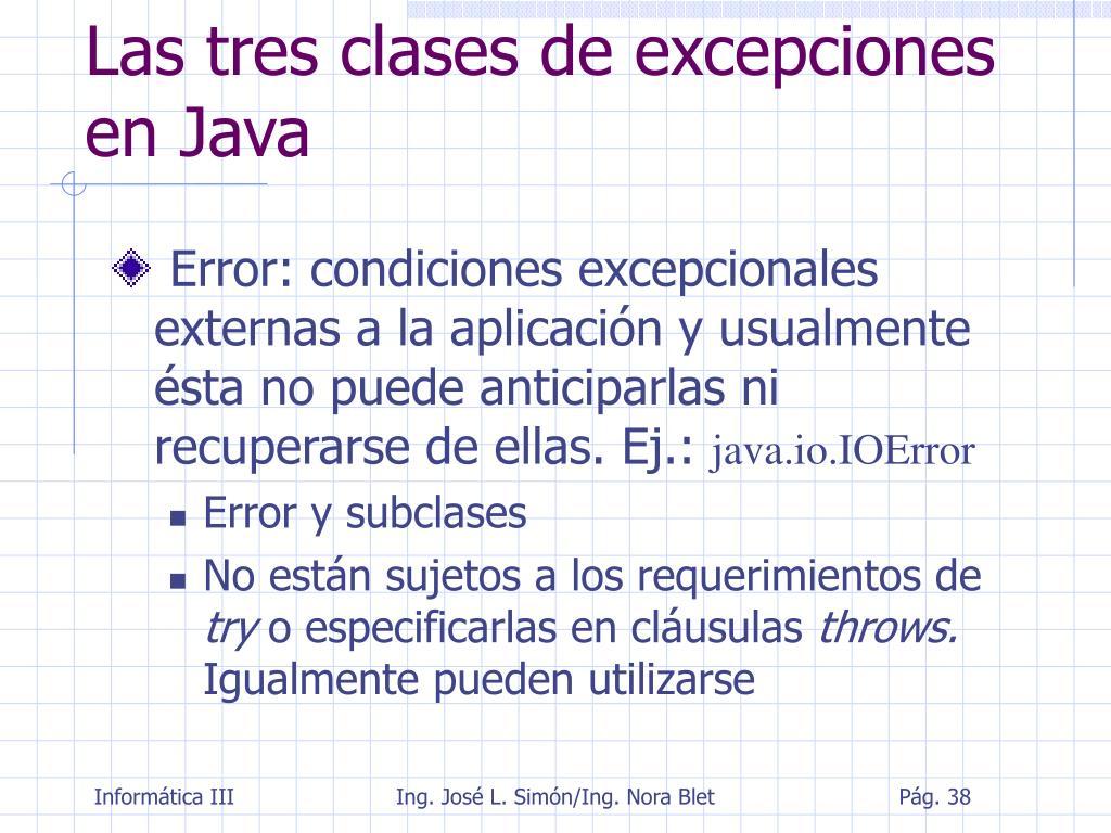 Las tres clases de excepciones en Java