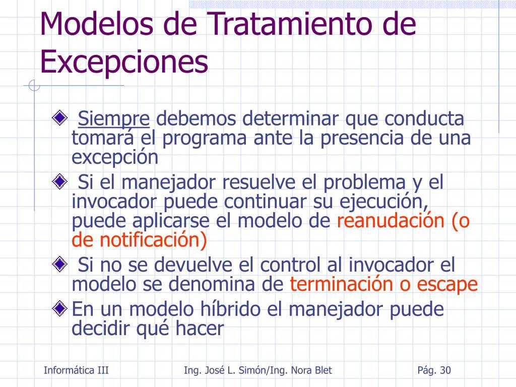 Modelos de Tratamiento de Excepciones