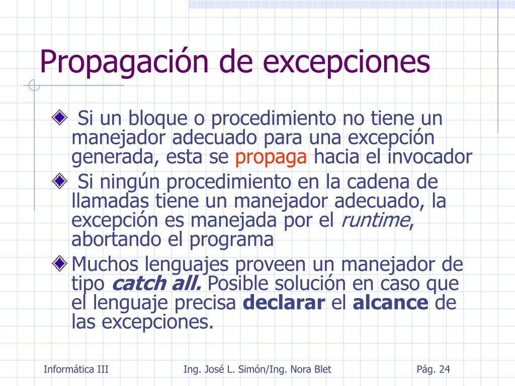 Propagación de excepciones